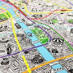 British artist Jenni Sparks is full of talent. This hand drawn map of Paris is meticulously detailed down to neighborhood landmarks. Plan Ville, Plan Paris, France Landscape, Paris Map, Fantasy Map, Photoshop, Location Map, Map Art, How To Draw Hands