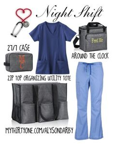 Nurses Night Shift by darbybags on Polyvore featuring WonderWink, Jockey, tote, thirtyone, nurse and thermal