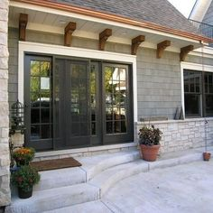 Useful reference pertaining to french doors patio Exterior Trim, Exterior House Colors, Exterior Paint, Exterior Design, Black Windows Exterior, Exterior French Doors, Exterior Cladding, Corbels Exterior, Cafe Exterior