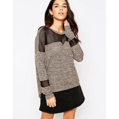 Vero Moda Color Block Sweater (€37) ❤ liked on Polyvore featuring tops, sweaters, silver, lightweight sweaters, mesh sweater, mesh top, vero moda sweater and brown tops