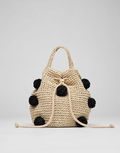 Pompoms raffia bucket bag - What's new - Accessories - Woman - PULL&BEAR I. - We are the goon squad and we're coming to town beep beep Bucket Bag, Trendy Mood, Sacs Design, Pull & Bear, Diy Purse, Knitted Bags, Handmade Bags, Straw Bag, Purses And Bags