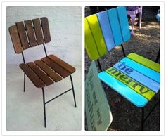 Be Merry - before and after Recycled Furniture, Painted Furniture, Outdoor Chairs, Outdoor Furniture, Outdoor Decor, Recycling, Merry, Fancy, Home Decor