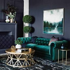 Teal decor in Beautiful traditional style living room with teal velvet chesterfield sofa – Sofa Design 2020 Teal Living Rooms, Living Room Green, Living Room Sofa, Living Room Designs, Living Room Furniture, Accent Furniture, Living Room With Color, Teal Rooms, Velvet Furniture