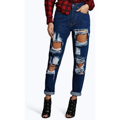 Boohoo Maisie 70's High Rise Distressed Mom Jeans ($44) ❤ liked on Polyvore featuring jeans, indigo, high waisted skinny jeans, skinny jeans, boyfriend jeans, white high-waisted jeans and high waisted ripped jeans