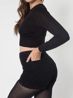 American Apparel high-waist side-zip black  jean shorts