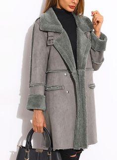 a5e076d23dee Pelliccia   Finta Pelliccia Manica lunga Risvolto Tasche Cappotti Cappotti  Per Donna