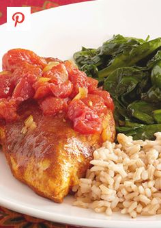 Moroccan Chicken and lemon sauteed spinach