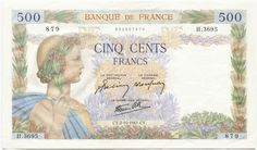 500 Francs 1941 (Allegorie des Friedens)  Frankreich État Français (Vichy-Regime)