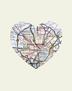 Nathan bought me this for Valentine's Day    Baltimore Art City Heart Map  Wood Block Art Print by LuciusArt, $39.00