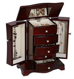 Seya Modern Wooden Jewelry Box Organizer with Mirror Espresso