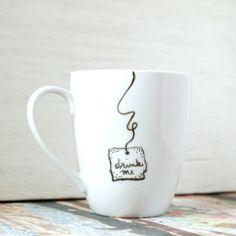 Alice in Wonderland Drink Me Mug by LaraRoseCreative on Etsy, $14.00