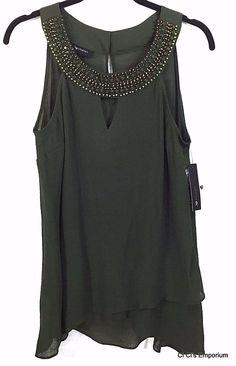 AB Studio Beaded Embellished Gauze Sleeveless Top Medium Asymmetrical Hem Green #ABStudio #KnitTop #Casual