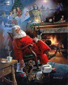 ralph j mcdonald amazing painting Cowboy Christmas, Christmas Scenes, Antique Christmas, Father Christmas, Vintage Christmas Cards, Santa Christmas, Christmas Pictures, Xmas, Christmas Ecards