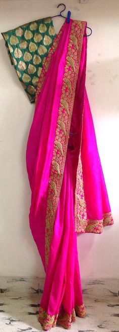 Fuchsia pink semi raw silk saree with cord work border and unstitched silk brocade blouse by GiaExquisiteIndian on Etsy