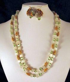 Hattie Carnegie Green Art Glass Bead Amber Rhinestone Necklace Earrings Vintage   eBay