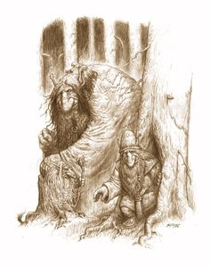 The young big troll Bord Nagbrög, the troll Odhrur Bruggbarr and the small troll Glizig Modrabok have things to discuss when a group of elves show up on the trail close by.