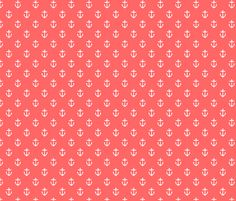 Coral Anchors fabric by sweetzoeshop on Spoonflower - custom fabric - Print with Table numbers???