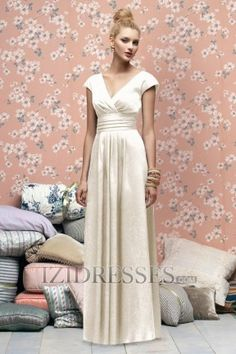 A-Line Sheath/Column V-neck Satin Bridesmaids Dresses available in silver  it is sweet  + simple...