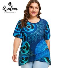 AZULINA Plus Size Print Flutter Sleeve Overlap T-Shirt Women T Shirt 2018 O Neck Short Sleeve Tops Tees Big Size Ladies Clothes – Women Shopping