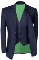 Navy Distinguished Three Piece with green lining.