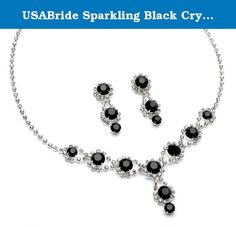 USABride Sparkling Black Crystal with Rhinestones, Silver Plated Necklace & Earrings Prom Jewelry Set 503-BL. This Jewelry Set is both glitzy and elegant! This gorgeous jewelry set features a swirl design highlighted with large glistening rhinestones and surrounded by smaller clear stones. This jewelry set is perfect for the bride, bridesmaids, or other special events such as proms, homecoming or semi-formals!.