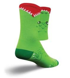 Crew length performance green socks with an alligator eating your leg. Fits men's shoe size (or women's shoe size Online Bike, Sport Socks, Hiking Gear, Double Knitting, Sports Shoes, Crew Socks, Sporty, Unisex, Stuff To Buy