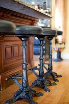 Intricate 1940s cast iron stools converted into barstools – steampunk style – Victorian – Bruce Rosenbaum