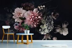 Bouquet wallpaper with peonies, hydrangea and tulip, self adhesive, peel and stick floral wall mural Peonies, Tulips, Buy Wallpaper Online, Temporary Wallpaper, Bathroom Wallpaper, When I Grow Up, Shop Logo, Shades Of Yellow, Floral Wall