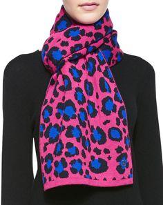 Kenzo Leopard Knit Scarf, Fuchsia/Blue on shopstyle.com