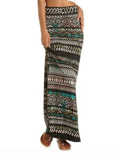 Aztec Tribal Maxi Skirt: Charlotte Russe