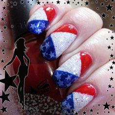 4th of July mani using Crows Toes Bunny Slopes for base.