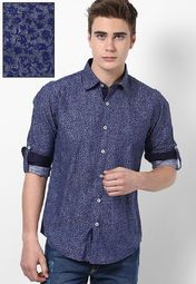 Printed Blue Casual Shirt