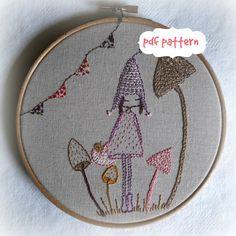Mushroom pixie embroidery pattern pdf von LiliPopo auf Etsy