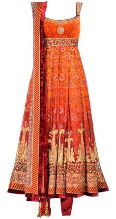 TARUN TAHILIANI Digital printed chiffon anarkali with heavy embroidery work India Fashion, Ethnic Fashion, Asian Fashion, Fashion Goth, Womens Fashion, Mode Bollywood, Bollywood Fashion, Indian Attire, Indian Ethnic Wear