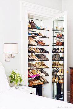 Mirror behind your shoe wall?! @snowknow  Interior Design Inspiration : Betsy Morgan, New York