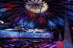 An architectural masterpiece, The Dome is one of the largest clear space venues in Australia, measuring 97 metres in diameter and 42 metres in height. It has 7,200 square metres of floor space, but when it is combined with the adjoining Halls, this can be expanded to 21,600 square metres. Gala Dinner, Floor Space, Light Art, Olympics, Sydney, Australia, Park, Lighting, Architecture