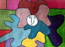 Portrait painting like Chaissac by schoolchildren. Portraits réalisés à la manière de Chaissac, par des écoliers.
