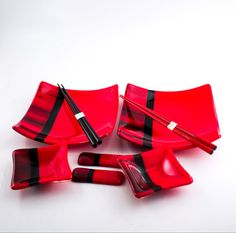 Red and Black Sushi Set Japanese Dinnerware Fused Glass Square Dinner Plates Small Bowls Japanese Chopsticks Chopstick Rests Gift Set & Black and Red Sushi Set - Japanese Dinnerware - Fused Glass - Square ...