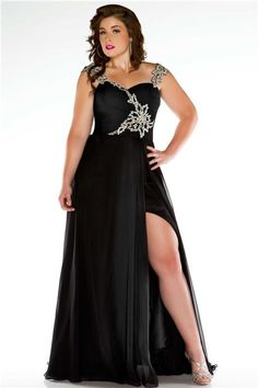 Unusual Straps Long Black Chiffon Beading Plus Size Evening Prom Dress With Slit not in love with it but comes in peach 142.00