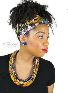 Fire and Ice 3 Strand Headband Natural Hair Cloth /& Cord African Print Headband African Headband