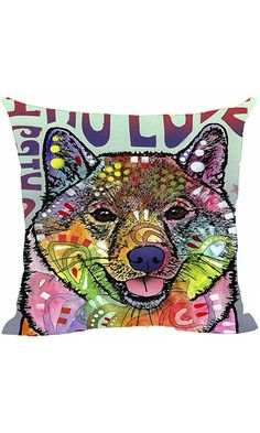 "Home Decorative Cute Shiba Inu Series Pillow Covers Abstract Art Throw Pillow Case Square Decorative Pillowcases Colorful Dog For Sofa Couch Seat 20""x20""Inch Best Price"