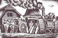 """Ethelbert White (1891-1972) """"Threshing"""" wood engraving 1938. Signed, titled and numbered 3/50. 122 X 178 mm."""