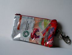 UPCYCLED Starbucks Guatemala Antigua coffee bag RECYCLED into change/coin purse