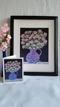 Blue Vase with Pink Flowers  Original Chalk Art Drawing
