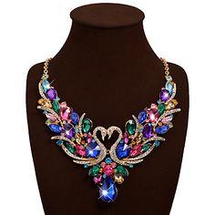Women's+Statement+Necklaces+Bib+necklaces+Animal+Shape+Swan+Gemstone+Rhinestone+Bohemian+Luxury+Fashion+Vintage+Wedding+Party+Birthday+Valentine++–+USD+$+14.99
