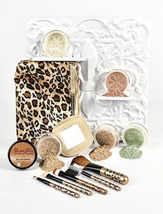LEOPARD KIT w BRUSH SET  BAG Mineral Makeup Bare Skin Sheer Powder Foundation by Sweet Face Minerals Beige * Click image to review more details.