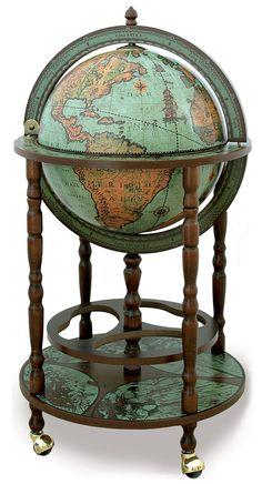 Old World Globe Bar - Verdigris Oceans