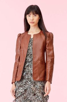 Smooth lambskin leather is tailored to a flattering peplum silhouette in the wear-forever Leather Peplum Jacket. Leather Jumpsuit, Leather Peplum, Vegan Leather Jacket, Satin Skirt, Ruffle Dress, Jacket Images, Peplum Jacket, Rebecca Taylor, Autumn Winter Fashion