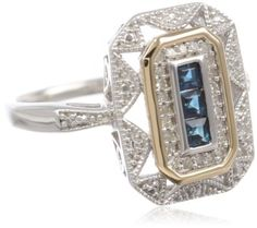 Amazon.com: S Sterling Silver and 14k Yellow Gold Blue Sapphire and Diamond-Accent Art Deco Style Ring (0.12 cttw, I-J Color, I3 Clarity): Jewelry