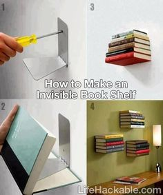 how to make an invisible bookshelf #diy #decor